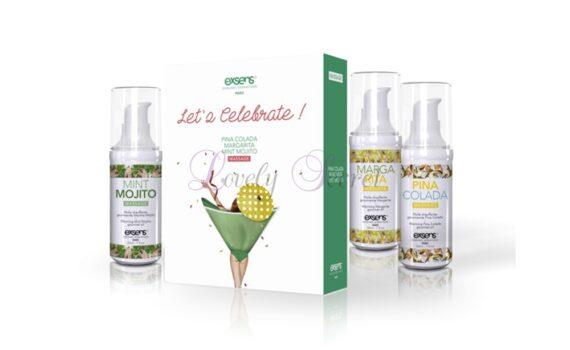 Coffret d'huiles gourmandes aux goûts cocktail chauffante Let's Celebrate